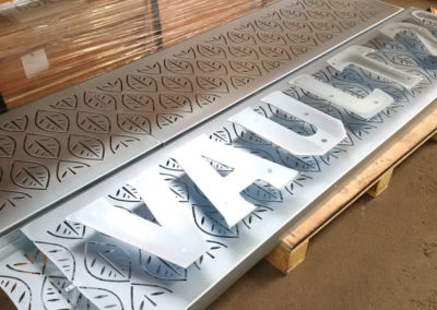 Laser Cut Sign // Zinc Plated prior to Powder Coating